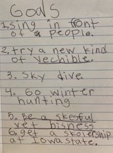 A child writes her vision for success